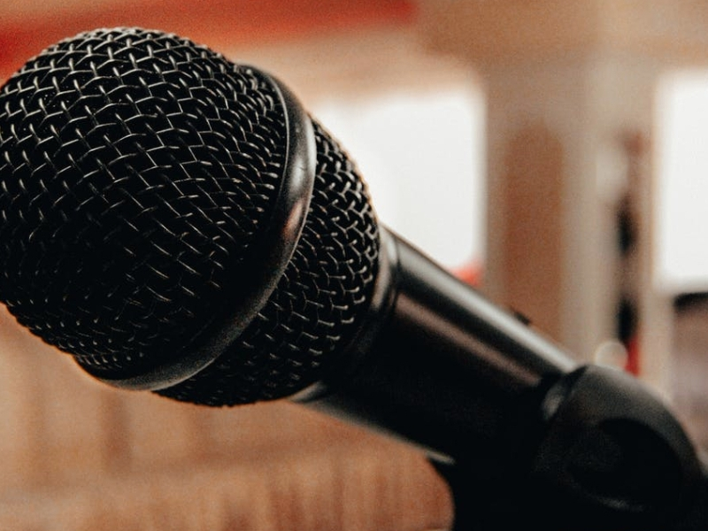 close-up of a microphone with a blurred background
